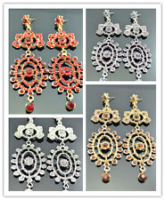 Deluxe Chic Gold & Silver Plated Rhinestone Large Long Style Chandelier Earrings