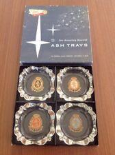 Beautiful Set Of Retro Ashtrays Clear Glass Vgc Federal Glass Company Ohio Boxed