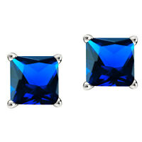3ct Sapphire Stud Earrings Princess Solitaire Ear 14K White Gold Silver