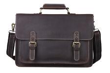 Men's Retro Genuine Leather Messenger Shoulder Bag Laptop Case Satchel Briefcase