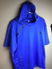 Adidas Nylon Hoodie Short Sleeve Blue Mens XL With Front Pocket