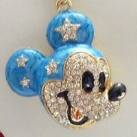 BETSEY JOHNSON CUTE CRYSTAL & ENAMEL BLUE MICKEY MOUSE  PENDANT CHAIN NECKLACE