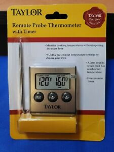 Taylor Digital Remote Probe Cooking Thermometer with Timer & 9 Meat Presets