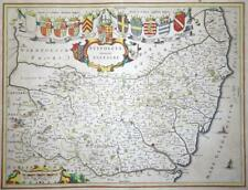 c1648 - Large Original Antique Map of SUFFOLK by J BLAEU Colour (LM4)
