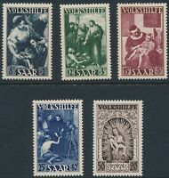 Lot Stamp Germany Saar Sc B69-73 1949 Moses Bethesda Madonna Thomas Christ MNH