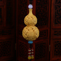 75MM Chinese Box-wood Hand Carving Cloud Dragon Cucurbit Gourd Amulet Pendant