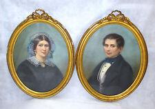 Two Large Portraits Pastel Signed Namur Belgium Séraphin Peltier M.Lagache