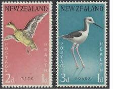 New Zealand 1959 HEALTH, BIRDS (Grey Teal, Stilt) (2) Unhinged Mint SG776-7