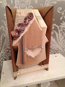"""hand made """"house"""" book fold origami with flowers gems and ribbon"""
