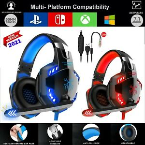 Pro Gaming Headset Mic XBOX One PS4PC Stereo Surround Headphones Microphone Bass