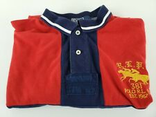 Polo Ralph Lauren Mens XL Racing Stables Red Blue Short Sleeve Polo Shirt