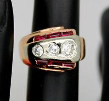 Beautiful Art Deco Retro 14k Solid Rose Gold .5 Ct Diamond & Ruby Ring Size 3