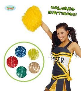 2 Pom Pom Ragazza Cheerleader Donna Carnevale Adulto Bambina SPECIFICARE COLORE