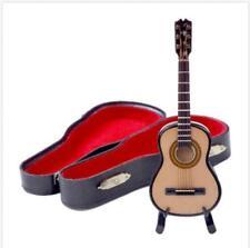 1:12 Mini Acoustic Guitar Wooden Miniature Musical Instrument Dollhouse Toy Case