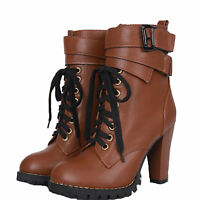 womens Boots Comfort Unisex Stylish Ladies Army Lace Up Western Shoes UK 2-7