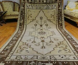 """Rare Antique Ca1900-1939s 4'7""""×8'7"""" Ivory-Gold Colors Wool Pile Rug"""