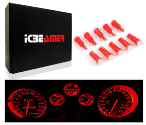 10 pcs LED T5 Red Ash Tray Dashboard Gauge Direct Plugin Light bulbs Lamp B54
