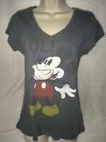Disney Mickey Mouse Top XL 15/17 Junior V-neck Gray Laughing
