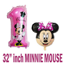 """32"""" Disney Mickey Minnie Mouse 1st Birthday Number 1 & HEAD SHAPE FOIL BALLOONS"""