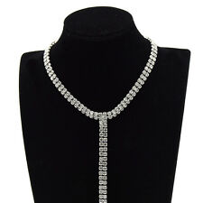 Women Elegant Rhinestone Choker Collar Necklace Chain Party Jewelry Adjustable