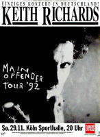189241 Keith Richards Main Offender Tour Germany 1992 Wall POSTER Print Plakat