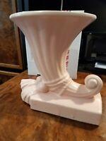 Vintage McCoy Pottery Pink Cornucopia Vase with tassels on base, very good condi