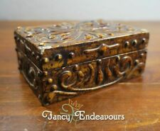 Antique Faux Tortoise Shell Painted Wood Box Italy