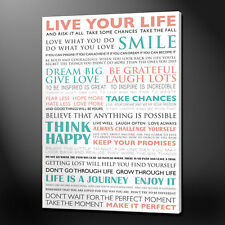 LIVE YOUR LIFE TYPOGRAPHY CANVAS PRINT PICTURE WALL ART FREE FAST DELIVERY