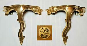 Vintage Gatco Solid Brass Wall Shelf Hanging Gilt Gold Set of 2