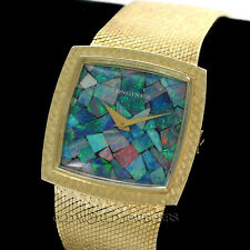 Longines Vintage Opal Dial Ref 6128 14K Yellow Gold Mesh Bracelet Dress Watch