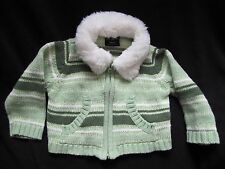 Children's Place CARDIGAN Zipper Sweater 12M Green Stripe White Collar Excellent