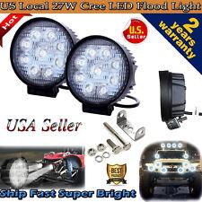 "2pcs 4"" 27W Flood LED Work Light Bar Offroad Boat Car Tractor Truck SUV Fog Lamp"