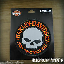 Harley Davidson REFLECTIVE Patch - Willie G Skull - Medium Emblem Badge