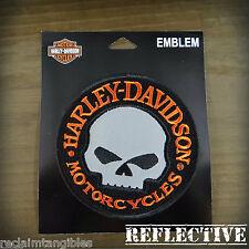 Harley Davidson REFLECTIVE Patch - Willie G Skull - Medium Emblem Badge