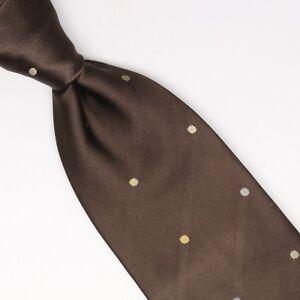 Gladson Mens Silk Necktie Brown Champagne Gold Gray Polka Dot Satin Weave Tie