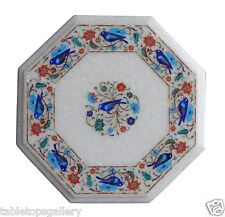 """12"""" White Marble Side Coffee Table Top Lapis Birds Inlay Art Outdoor Decors H031"""