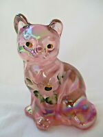 Fenton Art Glass Sitting Cat 5165 Pink Iridescent Carnival Painted Flower Signed