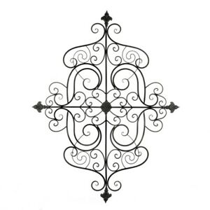 Mediterranean Style Iron Scrollwork Plaque Wall Decor w/ Fleur De Lis Accents