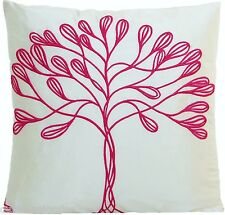 Tree Cushion Cover Pierre Frey Embroidered Silk Fabric White Pink Pillow Case