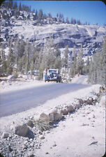 Lady and Car on Lonely Mountain Road - Vtg 50s Red Border 35mm Slide Kodachrome