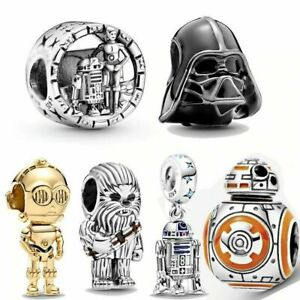 Sterling Silver, Yoda The Child Charm, Wars Darth, Chewbacca, R2-D2 Dangle, BB-8