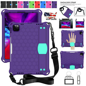 Kids-Safe Shockproof Case For iPad 8 7 6 5th Generation Rubber Cover+Strap Band
