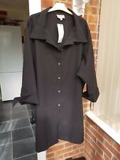 "Ladies Black Knee Length Shirt, 3/4 Sleeves, Size XXL(Bust 36/38"") NWT"