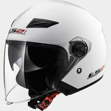 LS2 Helmet Motorbike Open Of569 Track Solid White L