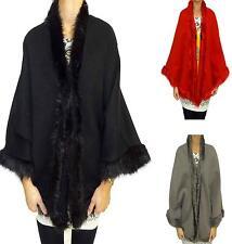 Womens Ladies Cape Luxurious Celeb Thick Faux Fur Trimmed Party Cloak Cape