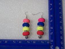 Autism flourescent color bracelet bead earrings
