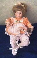 "Danbury Mint Doll ""Amy"" by Elke Hutchens enjoying chocolate ice cream 9"""