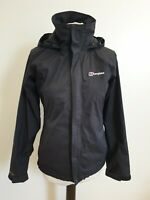 C242 WOMENS BERGHAUS AQ2 BLACK LIGHTWEIGHT HOODED HIKING JACKET UK 8 EU 36