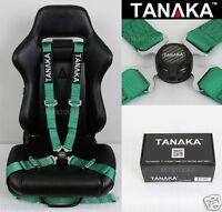 "TANAKA UNIVERSAL GREEN 4 POINT CAMLOCK QUICK RELEASE RACING SEAT BELT HARNESS 2"""