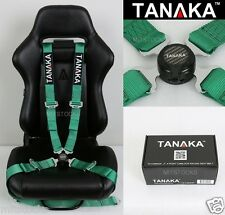 TANAKA UNIVERSAL GREEN 4 POINT CAMLOCK QUICK RELEASE RACING SEAT BELT HARNESS 2""